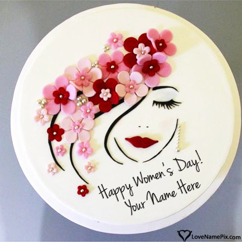 Write Name on Cute Womens Day Cake Images Picture