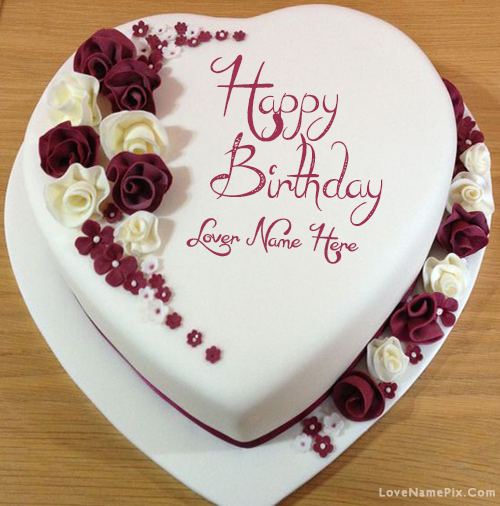 Awesome Decorated Lovers Birthday Cake With Name Funny Birthday Cards Online Elaedamsfinfo