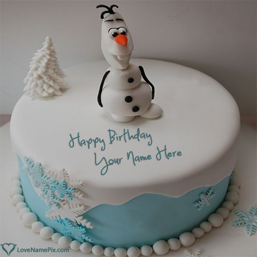 Fabulous Disney Frozen Olaf Birthday Cake With Name Funny Birthday Cards Online Alyptdamsfinfo