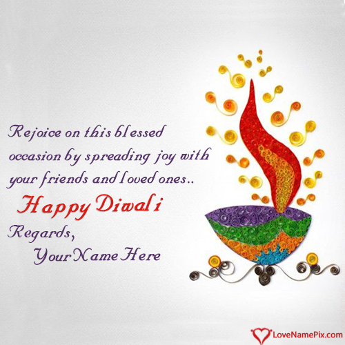 Write Name on Diwali Greeting Card Designs Picture