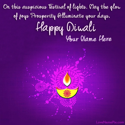 Write Name on Diwali Greetings Quotes Picture