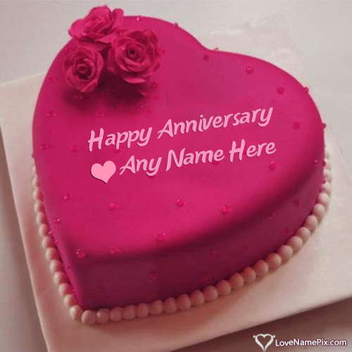 Write Name on Edit Heart Marriage Anniversary Cake Picture