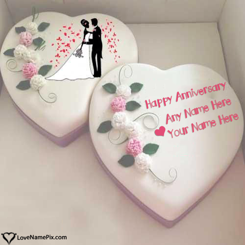 Write Name on Edit Romantic Anniversary Cake For Couple Picture