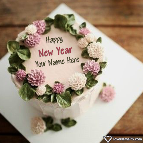 Editable Happy New Year Cake With Name