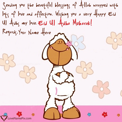 Write Name on Eid Mubarak Wishes For Lover Picture