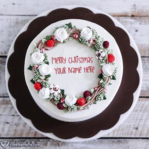 Write Name on Elegant Merry Christmas Fruit Cake Picture