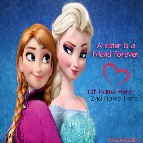 Write Name on Elsa Anna Frozen Sisters Picture