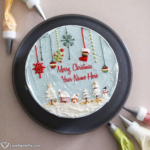 Write Name on Famous Christmas Wishes Cake Images Picture