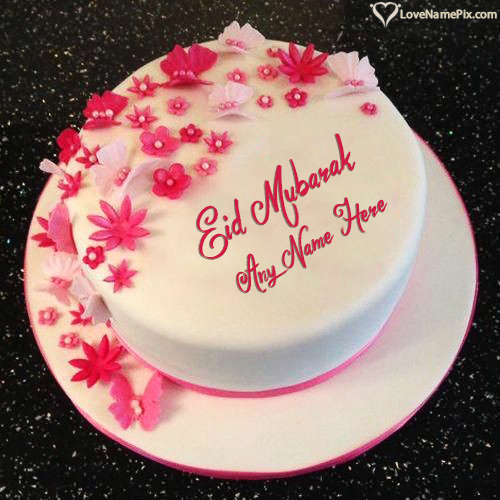 Write Name on Flowers Decorated Eid Mubarak Cake Picture