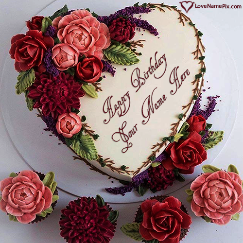 Write Name on Flowers Heart Birthday Cake Images Free Download Picture