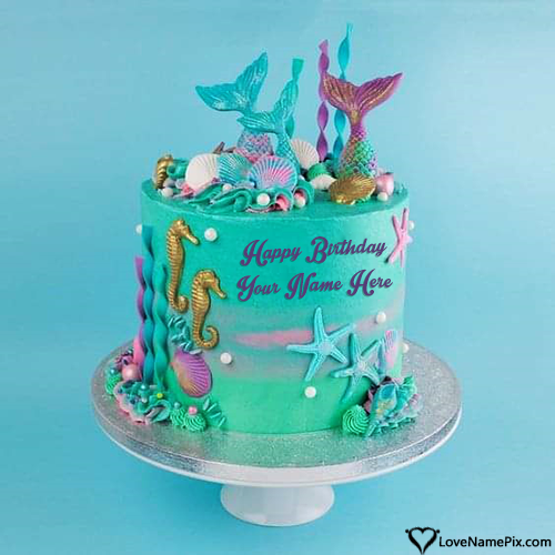 Free Ocean Birthday Cake Edit With Name