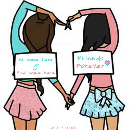 Write Name on Friends Forever Girls Picture