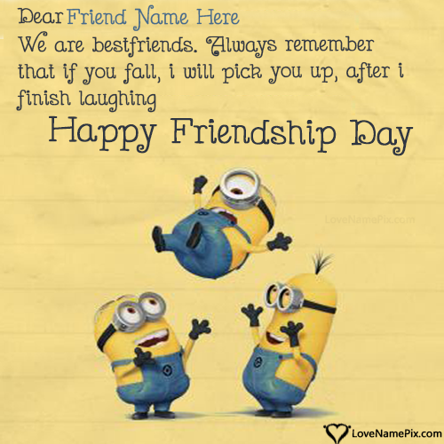 Write Name on Funny Friendship Day Quotes Picture