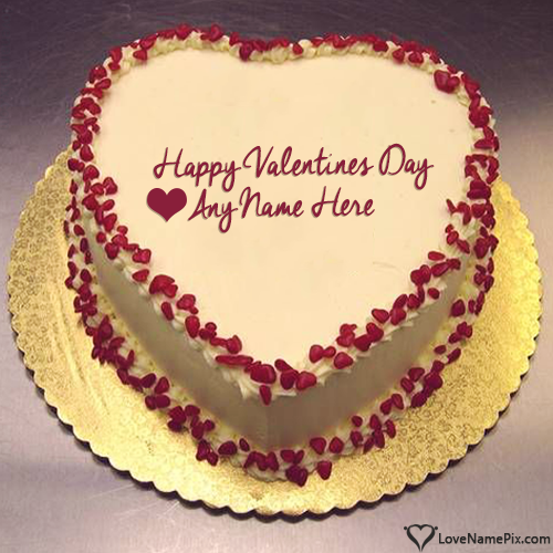 Write Name on Generator For Heart Shape Valentine Cake Picture