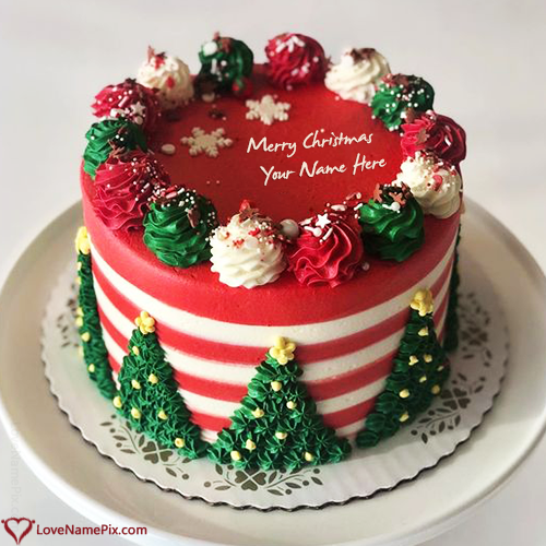 Write Name on Generator For Merry Christmas Cake Picture