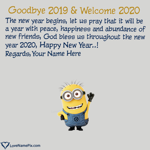 Write Name on Goodbye 2019 Hello 2020 Cute Wishes Picture