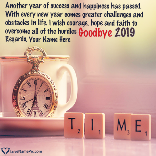 Write Name on Goodbye 2019 Images Quotes Picture