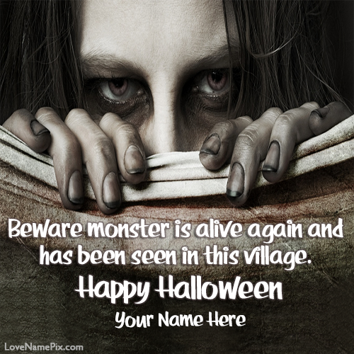 Write Name on Halloween Zombie Girl Picture