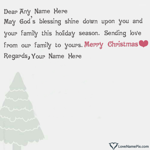 Write Name on Handmade Christmas Greeting Cards Picture
