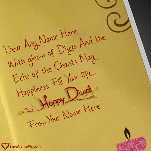 Handmade Diwali Greeting Cards With Name