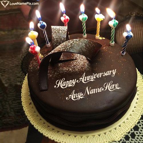 Write Name on Happy Anniversary Cake Messages Picture