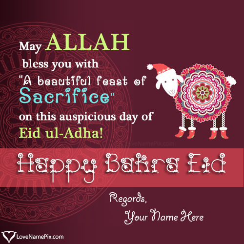 Write Name on Happy Bakra Eid Mubarak Picture