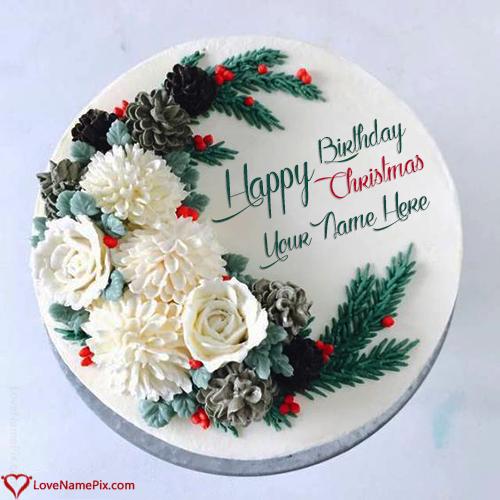 Happy Birthday Christmas Cake With Name