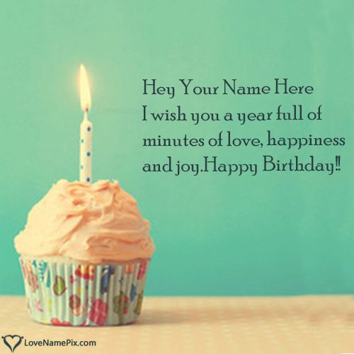 Write Name on Happy Birthday Wishes Cupcakes With Candle Picture