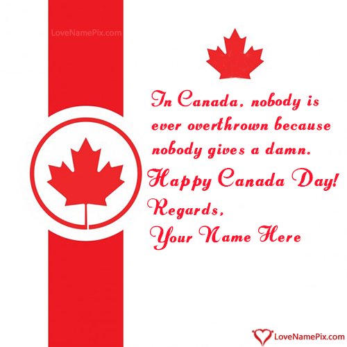 Write Name on Happy Canadian Independence Day Picture
