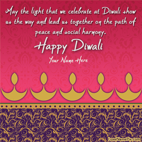 Write Name on Happy Diwali Wishes Quotes Picture