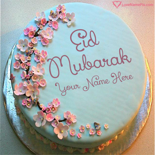 Write Name on Happy Eid Greetings Cake Picture