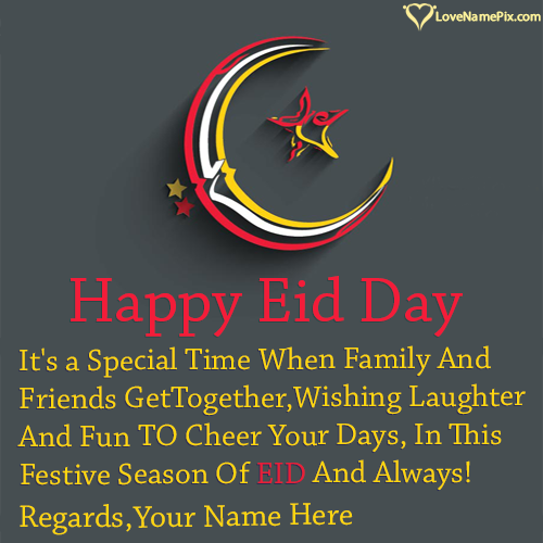 Write Name on Happy Eid Mubarak Wishes Picture