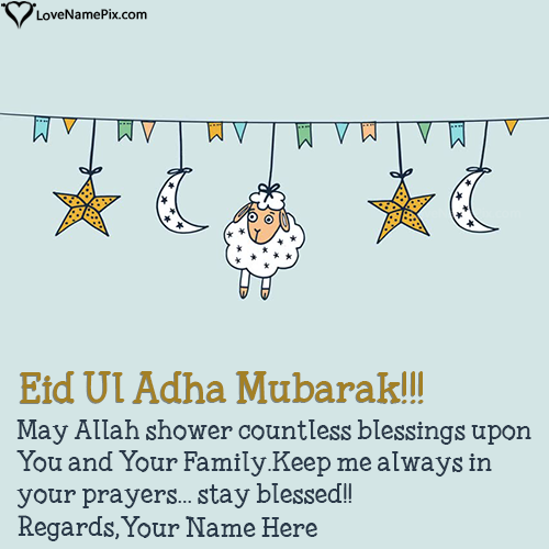 Write Name on Happy Eid Ul Adha Mubarak Wishes Picture