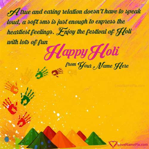 Write Name on Happy Holi 2016 Wishes Messages Picture