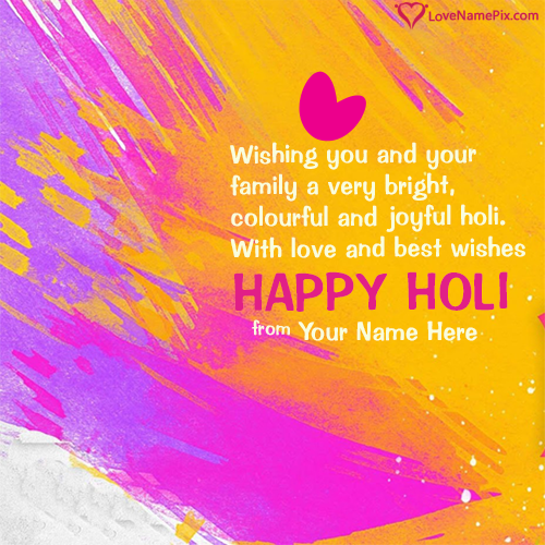 Write Name on Happy Holi Colorful Wishes Picture