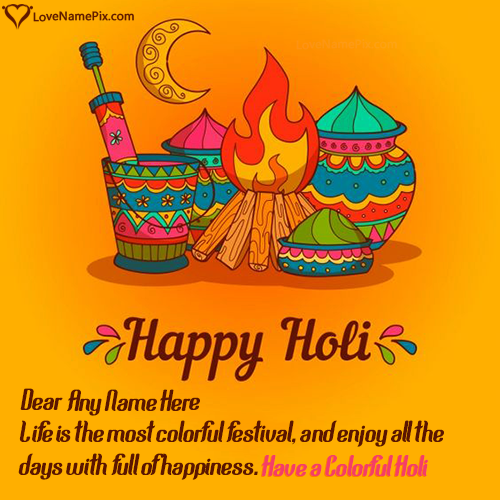 Write Name on Happy Holi Greeting Card Picture