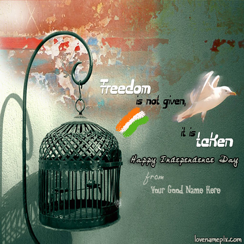Write Name on Happy Independence Day India Picture