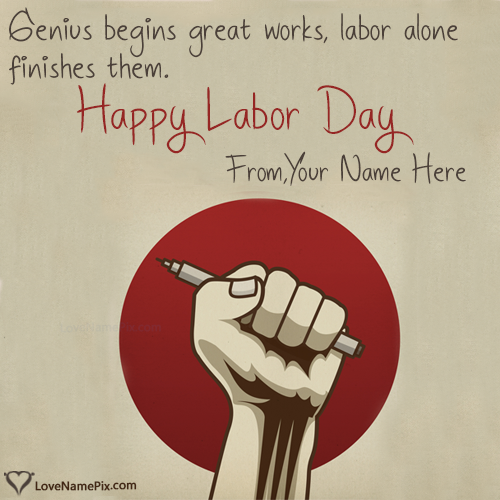 Write Name on Happy Labour Day Greeting Message Picture
