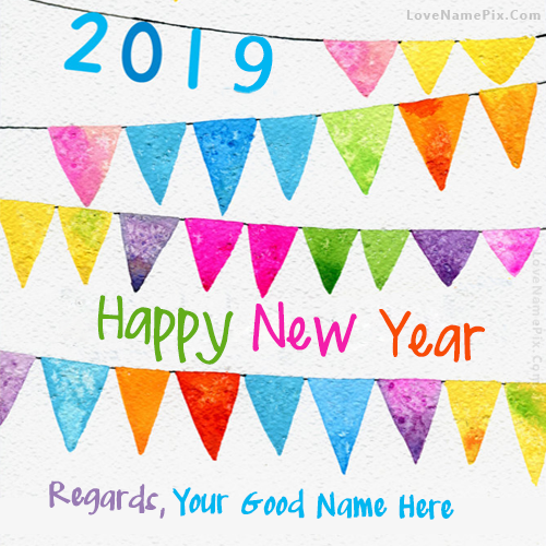 Write Name on Happy New Year Celebrations Picture