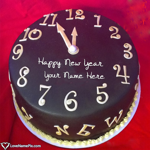 Write Name on Happy New Year Countdown 2018 Cake Picture