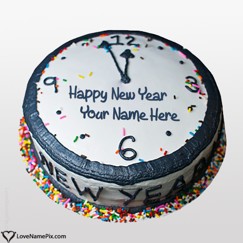 Write Name on Happy New Year Wishes Cakes Picture
