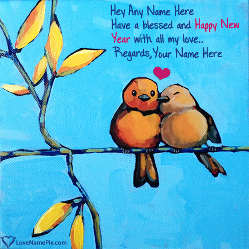 Write Name on Happy New Year Wishes For Lover Picture