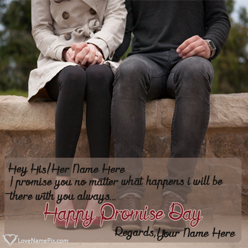 Write Name on Happy Promise Day Couple Quotes Picture