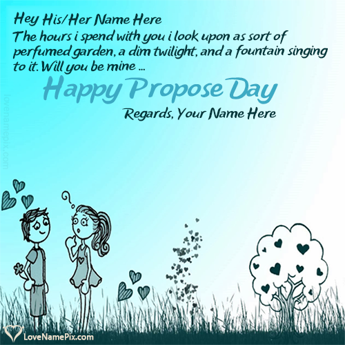Write Name on Happy Propose Day Couple Quotes Picture