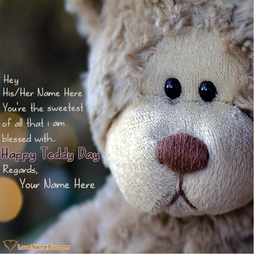 Write Name on Happy Teddy Day Sweet Greetings Picture