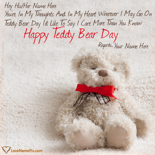 Write Name on Happy Teddy Day Wishes Quotes Picture