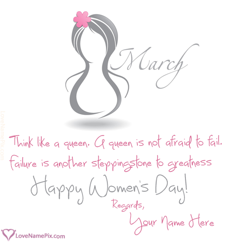 Write Name on Happy Womens Day Greeting Wishes Picture