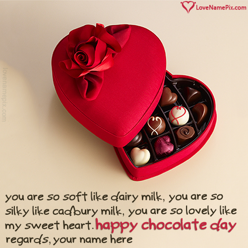 Write Name on Heart Gift Happy Chocolate Day Images Picture