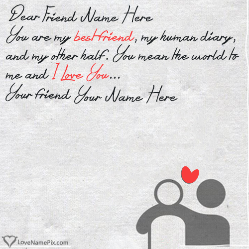 Write Name on Heart Touching Friendship Quotes Picture