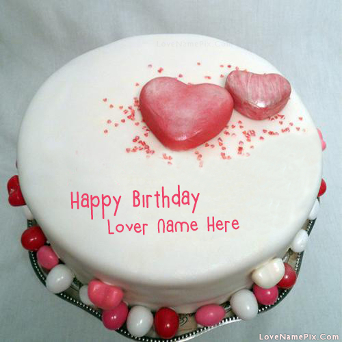 Write Name on Hearts Cake for Birthday Wishes Picture